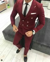 2018 Wine red burgundy men suit Double breasted peaked lapel tuxedos slim fit wedding prom party blazer jacket and pants