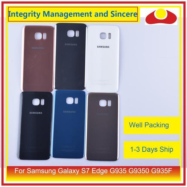 50 unids/lote para Samsung Galaxy S7 Edge G935 G9350 G935F SM G935F carcasa batería puerta para parabrisas trasero funda carcasa chasis