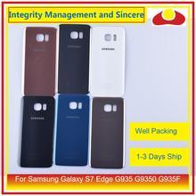 מקורי עבור Samsung Galaxy S7 קצה G935 G9350 G935F SM G935F שיכון סוללה דלת אחורי חזרה זכוכית כיסוי מקרה פגז מארז
