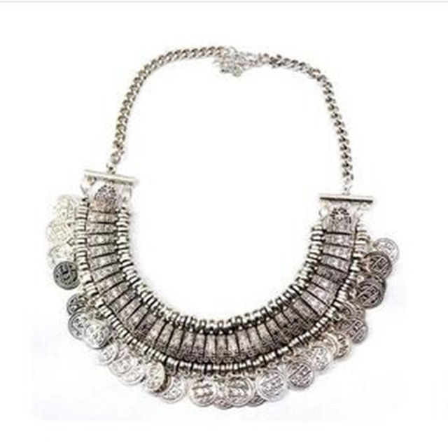 2016 New Wholesale Women's Fashion Silver Coins Pendant Statement Bib Charm Choker Maxi Necklace statement Necklaces for women