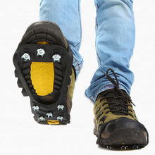 1 Pair Ice Gripper Outdoor 8-teeth Anti-Slip Snow Ice Gripper Mountain Climbing Hiking Practical Grip Spike Shoes Crampon