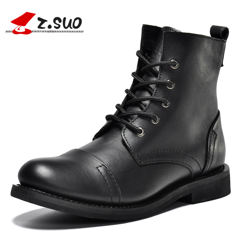 z.suo 2017 Winter Men Boots Genuine Leather Black Luxury New Fashion Cow Leather Ankle Boots Men Shoes Male Brown Bota Masculina new fashion men basic black winter warm shoes high top nuduck genuine leather luxury brand ankle snow boots flats size 38 44