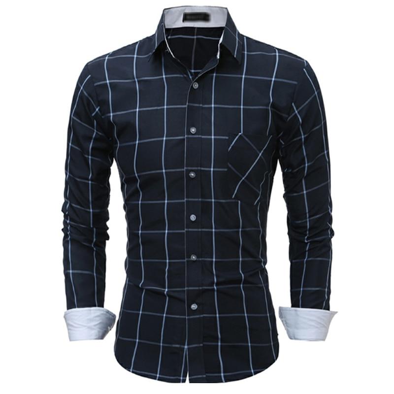 Men Shirt 2018 Brand Shirts Men Casual Long Sleeves Plaid Chemise Mens Camisas large size 3XL Dress Shirts