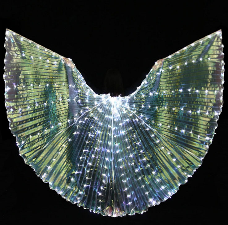 Womens White Gold Light Belly Dance LED Wings Butterfly Dancer Costumes Glowing Oriental Indian Bellydance Dancing Accessories