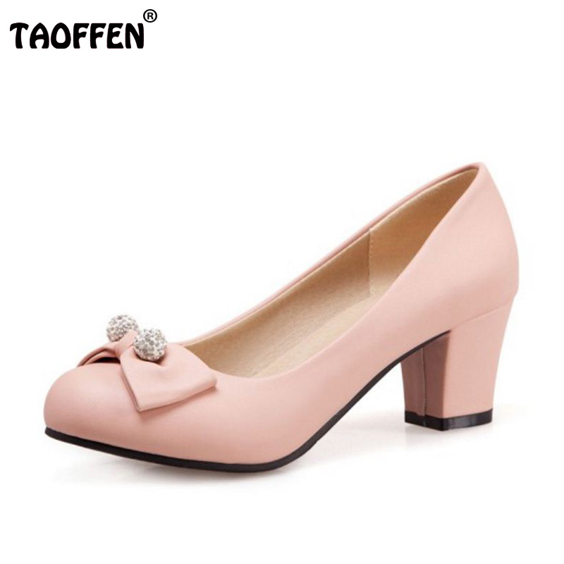 TAOFFEN Size 32-43 Women Bowknot High Heel Shoes Women Round Toe Thick Heel Pumps Party Shoes Sexy Office Shoes Women Footwears taoffen size 32 43 4 color women high heels shoes round toe thick heel pumps fashion platform bowknot party wedding footwear