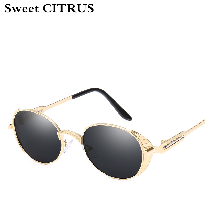 Sweet CITRUS Steampunk Vintage polarized Sunglasses Men Round Sun glasses Women Brand