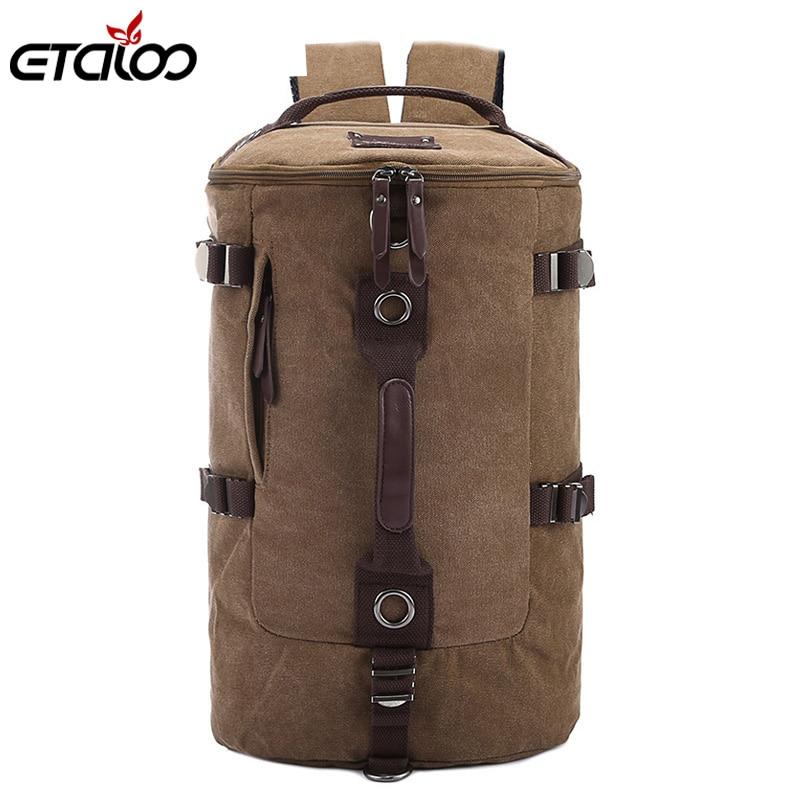 Grande capacidade homem saco de viagem montanhismo mochila homens sacos lona balde ombro mochila 012