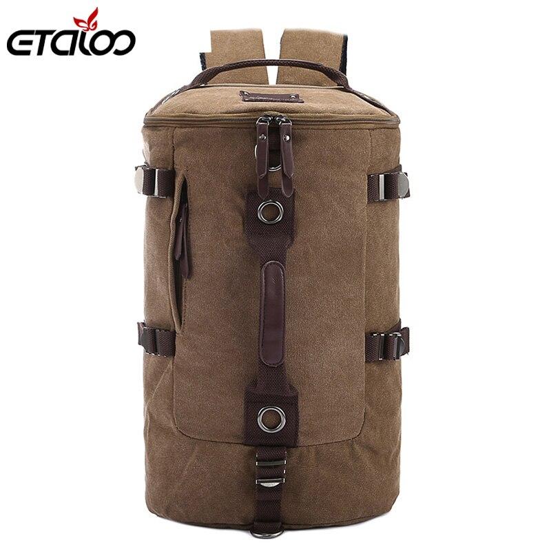Große kapazität mann reisetasche bergsteigen rucksack männer taschen leinwand eimer umhängetasche 012