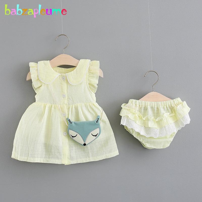 babzapleume 3 Piece Summer Tops Newborn Baby Outfits Kids Girls Clothes Sleeveless Cute T-shirt+Shorts+Bags Clothing Sets BC1705