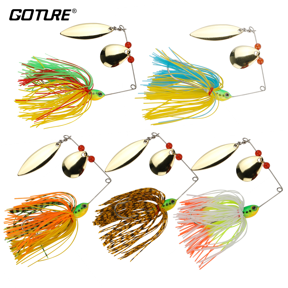Goture 5pcs/lot 17.5g Spinnerbait Bass Fishing Lure Blade Skirt Metal Spoon Spinner Bait Rig Pike Carp Fishing Tackle goture 96pcs fishing lure kit minnow popper spinner jig heads offset worms hook swivels metal spoon with fishing tackle box