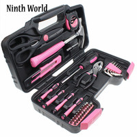 39Pcs Hand Tool Set General Household Home Repair Tool Kit with Plastic Toolbox Storage Case Hammer Plier Screwdriver Knife