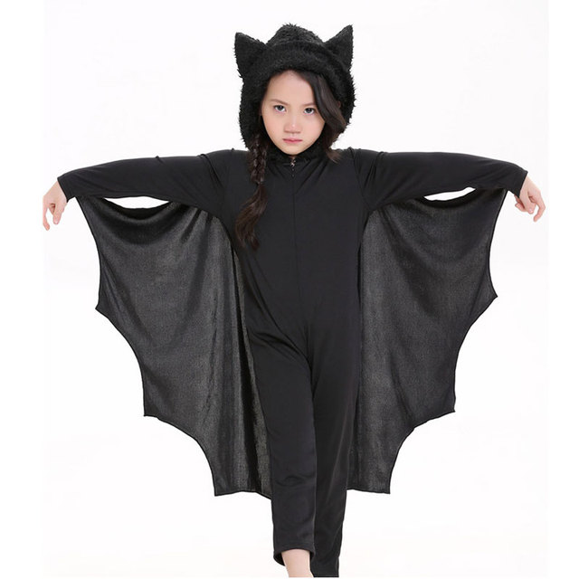 Umorden Halloween Purim Carnival Party Costume Kids Children Black Bat  Vampire Costumes for Boy Girl Fantasia Cosplay Jumpsuit 040585e2ba0f