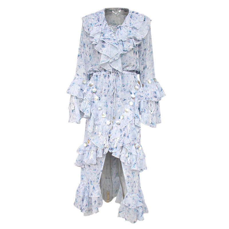 High Fashion Fairy Mosaic Long Dress Spring V-neck Sequined Ruffle Dress Casual Flower Floral Chiffon Maxi Dress (4)