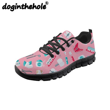 doginthehole Sport Running Shoes for Women Men Cartoon Dentist Nurse Pattern Sneakers for Female Mesh Flats Walking Shoes Girls