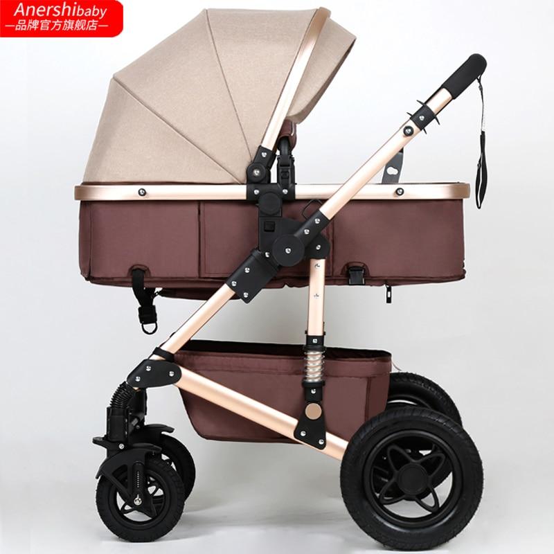 2 in 1 baby strollers high landscape folding baby pram with sleeping basket newborn carriage все цены