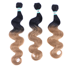 Ombre synthetic body wave bundles hair extension 3 pieces per lot 210g for one head hair weaving for afro women 210g