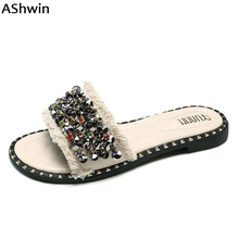 45a3a5055400 AShwin fashion women slippers summer slides sandals rhinestones shiny  glitter slipper flip flops casual flats fringe