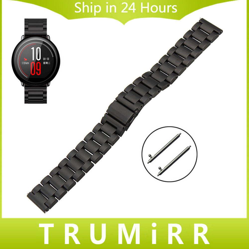 22mm Stainless Steel Watchband Quick Release Strap for Amazfit Huami Xiaomi Smart Watch Band Wirst Bracelet Black Gold Silver 20mm watchband stainless steel smart watch band strap bracelet for motorola moto 360 2 2nd gen 2015 42mm smartwatch black silver