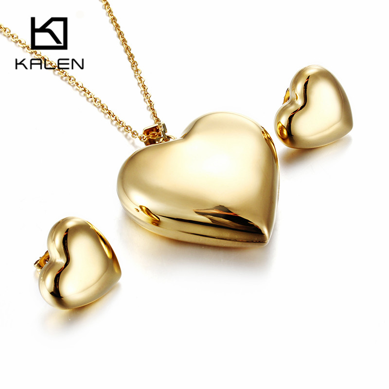 KALEN Fashion Bulgaria Gold Stainless Steel Heart Pendant Necklace & Earrings Jewelry Set For Girls Women Prom Party Accessories