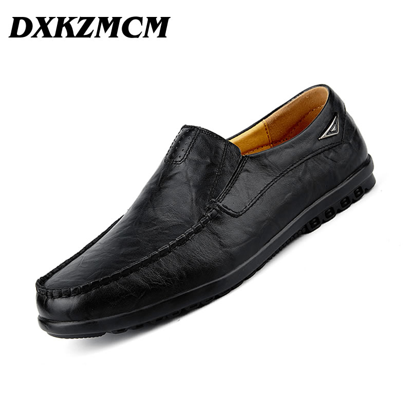 DXKZMCM Men Casual Shoes Fashion Slip On Driving Shoes Moccasins Leather Shoes Loafers Chaussure Homme branded men s penny loafes casual men s full grain leather emboss crocodile boat shoes slip on breathable moccasin driving shoes