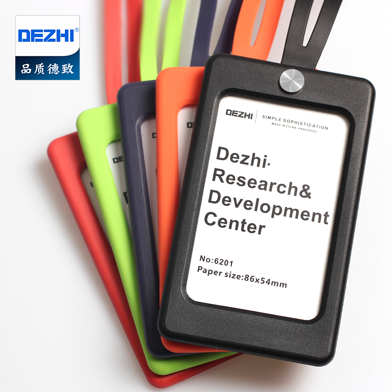 DEZHI Candy Colors Silica Gel ID Card Holder with Soft Neck Strap for Office Pass Card, LOGO Customize Badge Holder