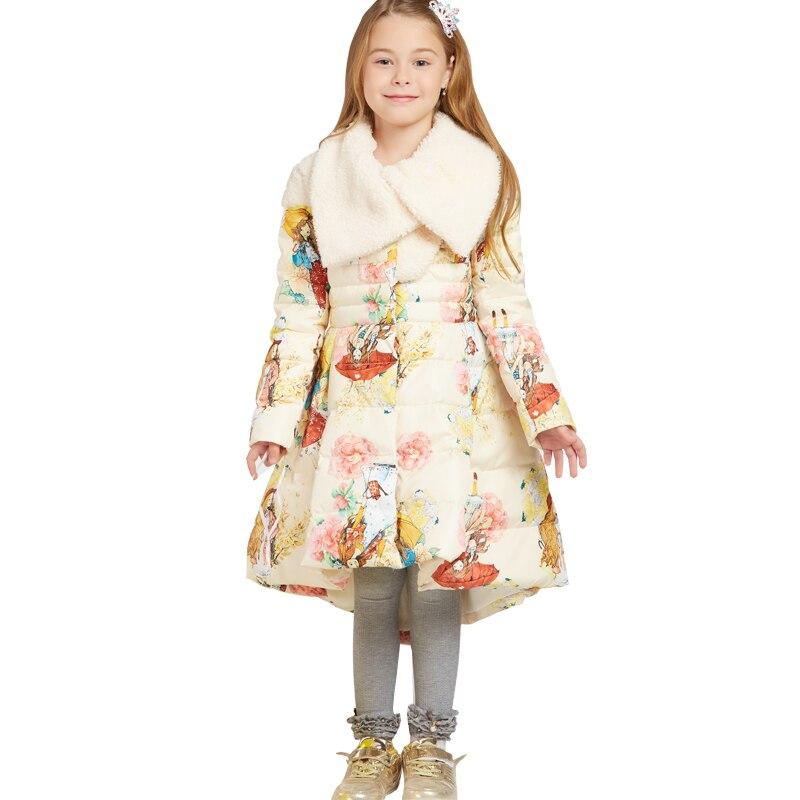Girls High Quality Down Jacket 2017 Teenager New Winter Coat Princess Long Paragraph Printed Down Jacket
