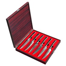 SUNNECKO 6PCS 5 inch Steak Kitchen Knife Gift Box Set Japanese 73-Layer Damascus VG10 Steel Sharp Blade G10 Handle Cutting Tool