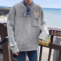 2017 Spring New Long Sleeves Knitting Cat Embroidery Coat Men's In Warm Cashmere Casual Sweaters Brand Woolen Pullover Size 2XL