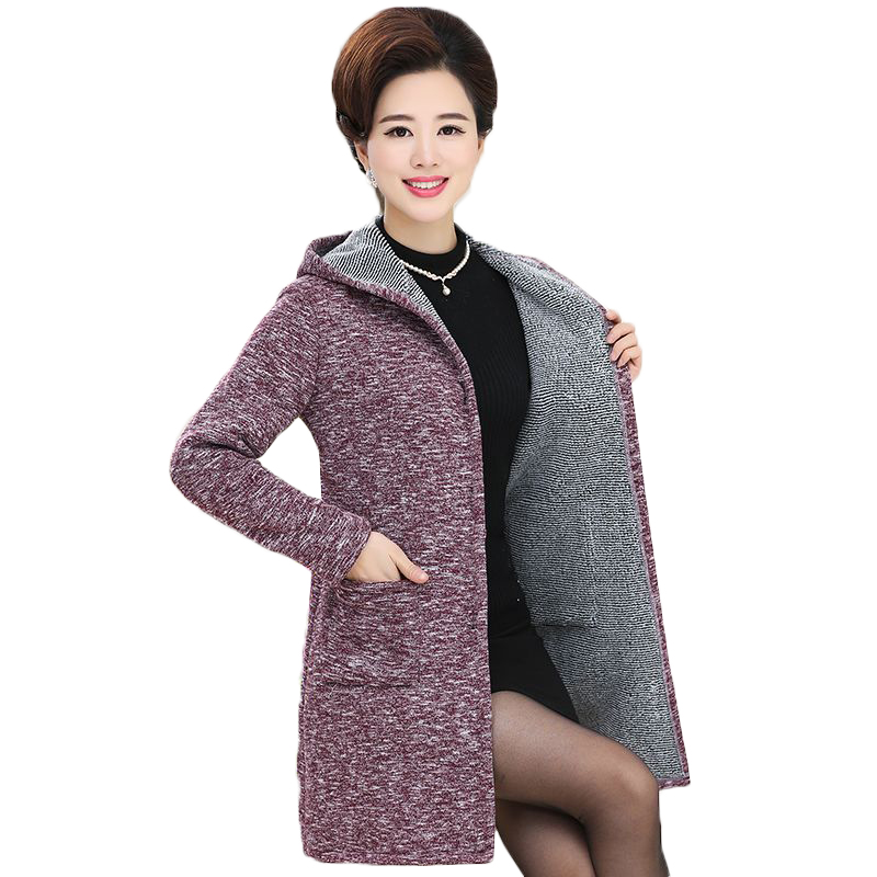 Women Long Hooded Sweater 2017 Autumn Winter Solid Color Long Sleeve Thicken Knitted Cardigan Female Sweater Coat Plus Big Size hiawatha 2017 autumn winter knitted dress women turtleneck solid color sweater dresses female long sleeve vestidos l8150