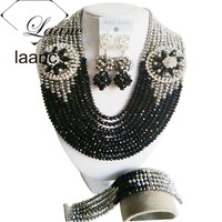 Trendy Nigerian African Wedding Beads Crystal Jewelry Set Black Silver Necklace Sets Free Shipping ABF352