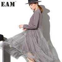 [EAM] 2017 חורף אופנה חדש O-צוואר ארוך שרוול תחרת פיצול משותף AS3362 כל התאמה גאות אופנה אישה שמלת Hem סקסי אפור