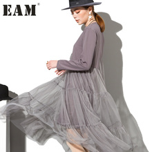 [EAM] 2017 новые зимние модные с длинными рукавами и круглым вырезом Кружево Разделение совместных подол сексуальные серое платье женские модные тенденции универсальные AS3362