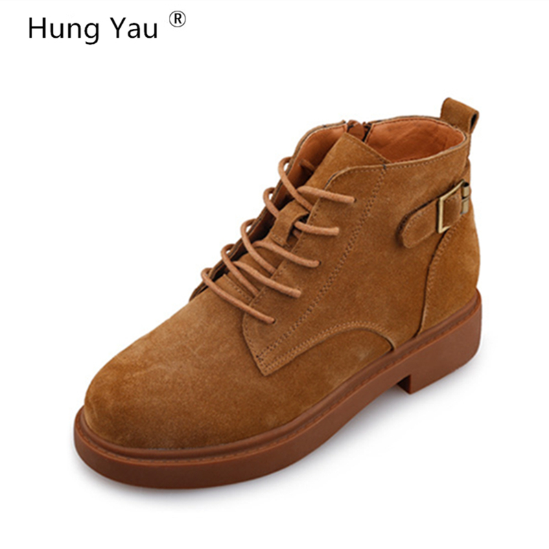 Hung Yau Women Casual Martin Boots Women Ankle Leather