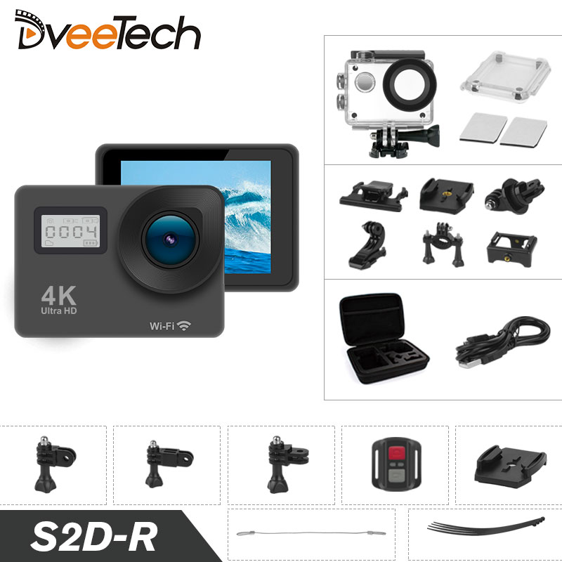 цена на Dveetech 4K Action Camera with Wifi 1080p Full HD Waterproof 30M Diving Cam Bicycle Motorcycle Helmet Mini Camcorder S2DR