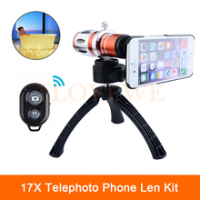 Big discount 2017 New Camera Lenses Kit 17x Optical Zoom Telephoto Telescope Lens For Samsung iPhone 6 6s 7 Plus 5 5s 4 4s Cases With Tripod
