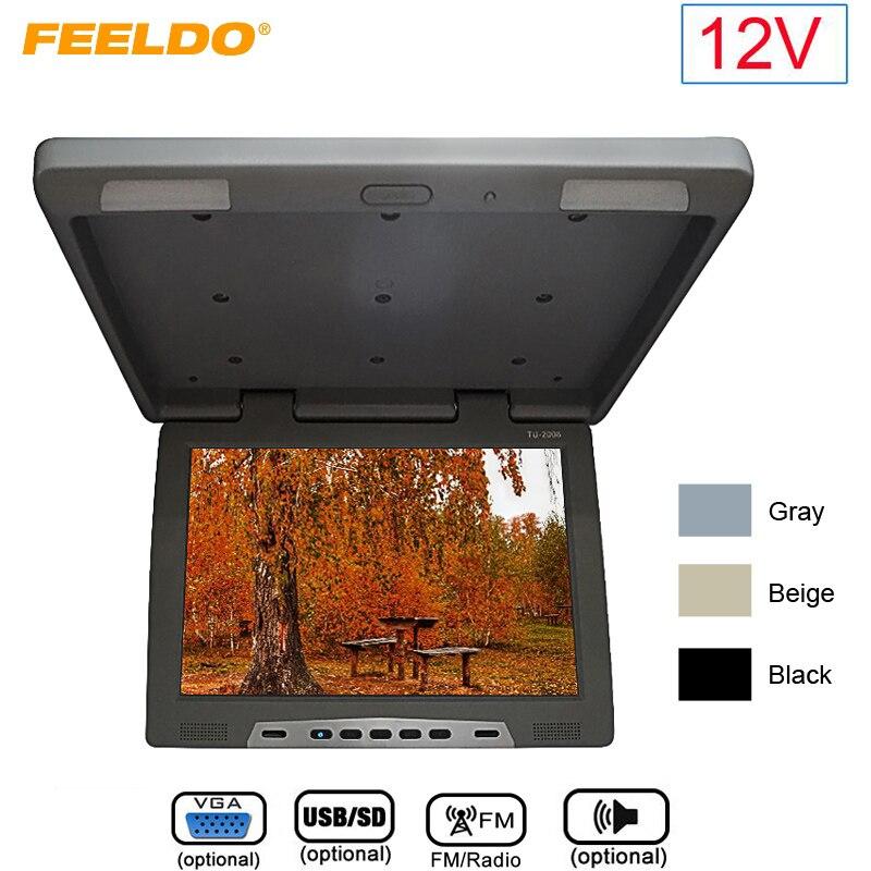 FEELDO DC12V 19 Крыше Установлен ЖК монитор для автобуса автомобиль флип вниз 19 InchTFT ЖК дисплей монитор с ИК передатчик/VGA/USB SD/FM/Динамик
