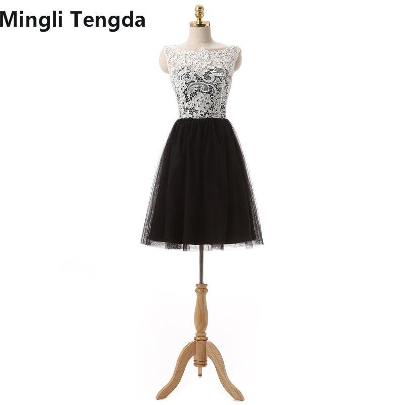 Mingli Tengda 2017 nouvelles robes de demoiselle d'honneur en dentelle Simple une ligne courte robe de demoiselle d'honneur dos avec bouton Mini robes pas cher en Stock