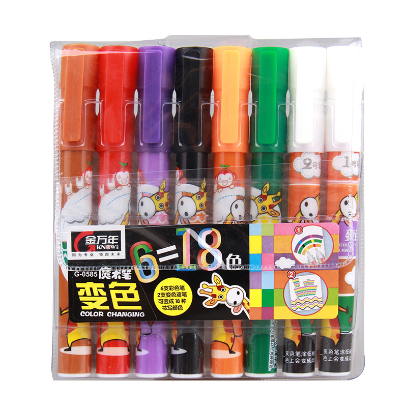 New 8pcs 18colors Color Paint Gel Pen Environmental Non-toxic and Tasteless School Stationery Children Kid Gift Stylo Kawaii