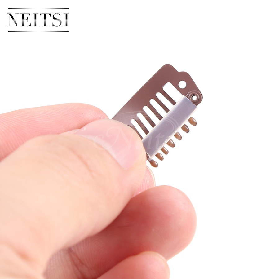 Neitsi I Shape Clips Stainless Steel Hair Snap Clips for Feather Clip In Hair Extensions Wigs Weft 2.3cm 50pcs/pack 4 Colors
