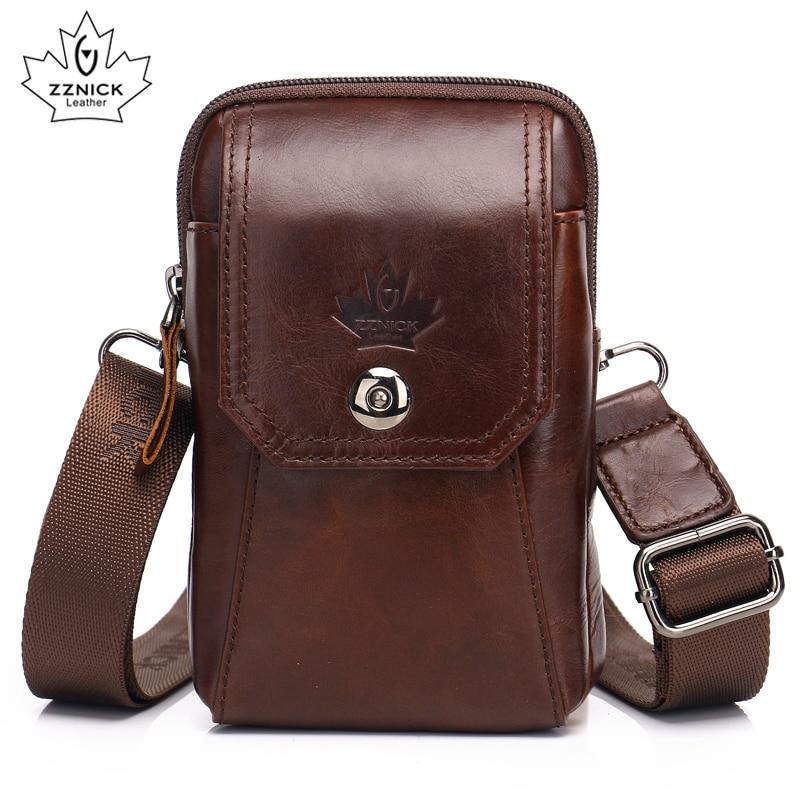 Waist Pack Shoulder Men Messenger Bags Crossbody Bags Genuine Leather Men Bag Belt  Sling Bag Male Phone Pouch Flap ZZNICK