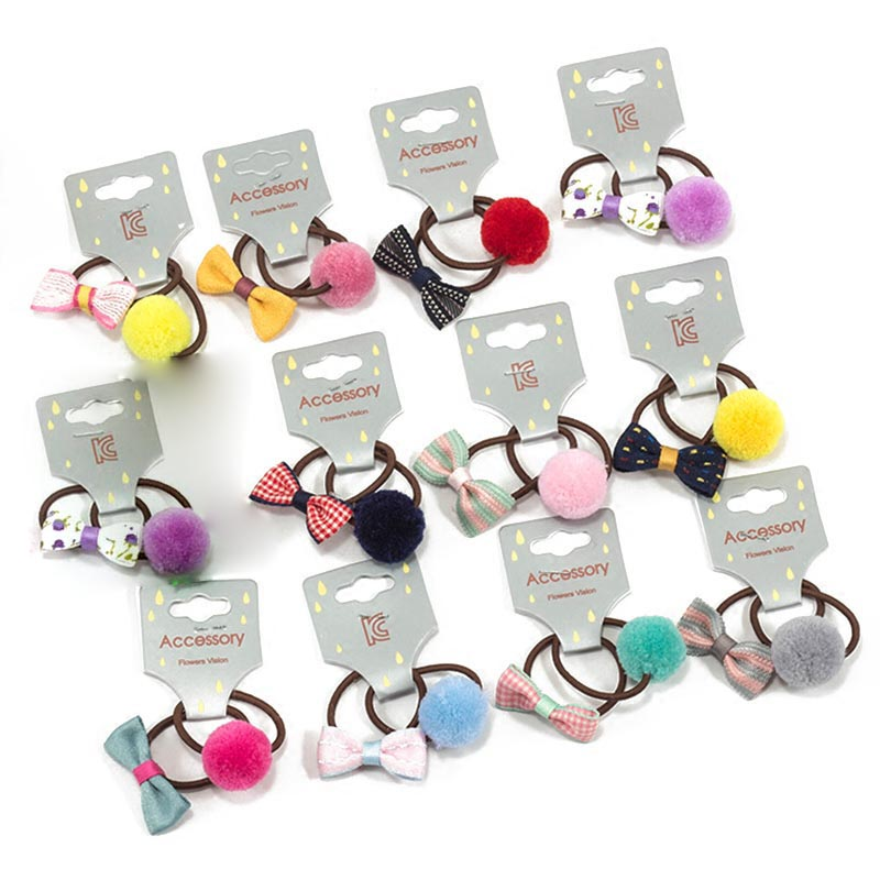 Hot Sale 2 pcs Set Colorful Bowknot Ball Hair Ropes Children Girls Princess Elastic Hair Bands Accessories in Styling Accessories from Beauty Health