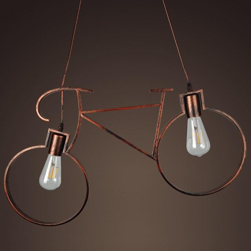 Rétro industriel vent vélo style pendentif lumière fer allée E27 titulaire pendentif lampe pour café Restaurant chambre étude