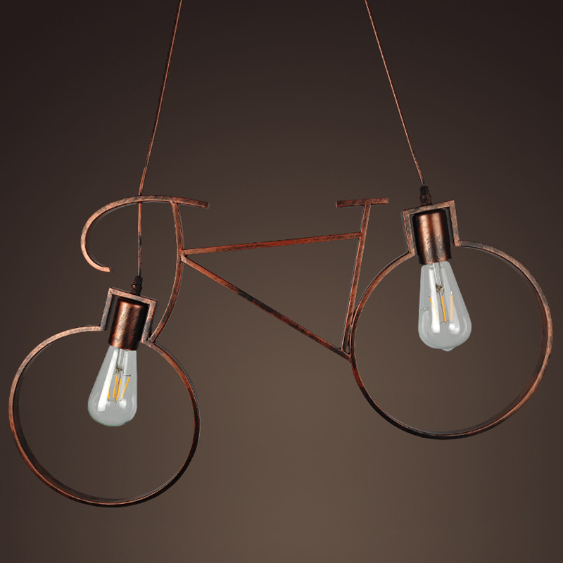 Retro Industrial Wind bicycle style Pendant <font><b>Light</b></font> Iron Aisle E27 Holder Pendant Lamp for Coffee Shop Restaurant Bedroom Study