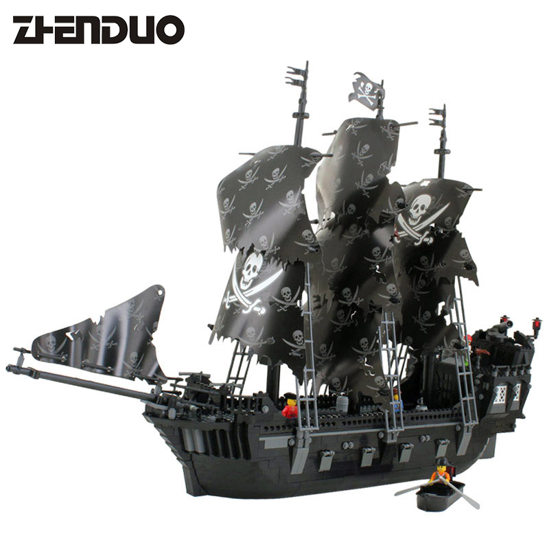 KAZI 87010 The Black Pearl Ship Bricks Set Sale Pirates of The Caribbean Building Blocks Toys For Children Hobby Free Shipping 1513pcs pirates of the caribbean black pearl general dark ship 1313 model building blocks children boy toys compatible with lego