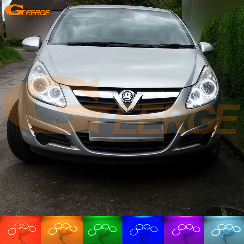 For Opel Corsa D 2006 2007 2008 2009 2010 2011 halogen headlight Excellent Multi-Color Ultra bright RGB LED Angel Eyes kit
