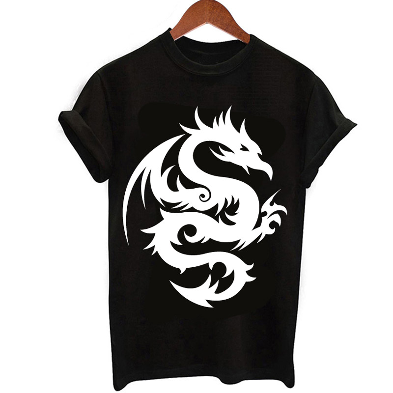 women T-shirt new summer 2018 Dragon Tattoo print harajuku tees casual O-neck fashion tshirt black white tops so cool