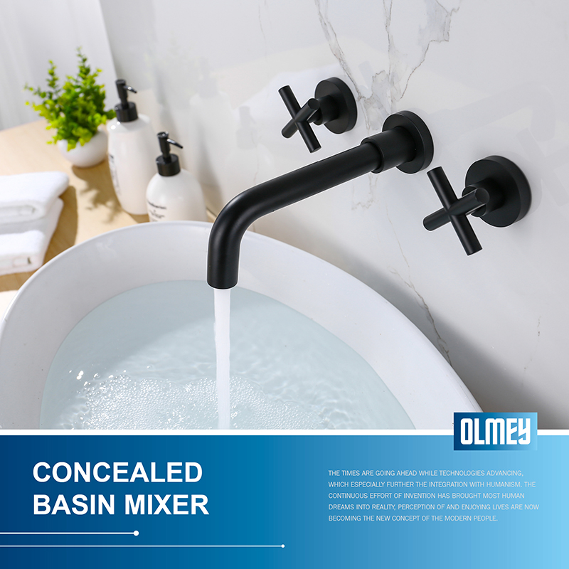 OLMEY Matte Black Bathroom Faucet Mixer, Double Handle Wall Mount Bathroom Basin Vanity Faucet and Rough in Valve Included