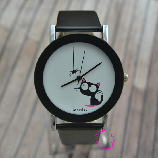 Funny Cute Kids Cat Fashion Watch Women 2016 Spider New Black White Pink Wristwatch Hour Lady Child Girl Dress Causal Quartz Hot