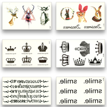 12 Sheets Fake Temporary Tattoo Water Transfer Chinese characters Sanskrit Crown Deer Stickers Women Men Beauty Sexy Body Art