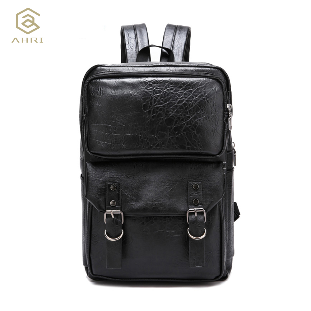 9faae316f2d6 AHRI NEW 2017 Men Backpacks PU Leather Men s Shoulder Bags Fashion male  Business Casual Boys School Vintage Backpack for Men